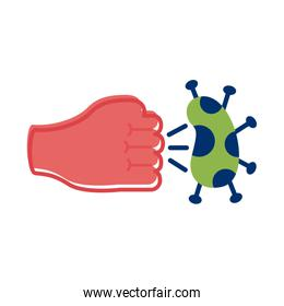 fist hand hitting covid 19 particle flat style icon