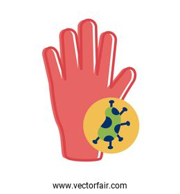 hand with covid 19 particle flat style icon