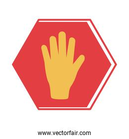hand stop signal flat style icon