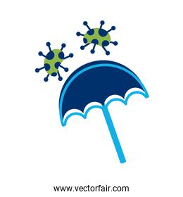 umbrella with covid 19 particles flat style icon