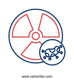 nuclear symbol with covid 19 particle line style