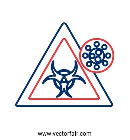 covid 19 particle and biohazard signal line style icon