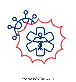 medical symbol with covid 19 particle line style