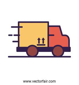 truck with box carton packing delivery service
