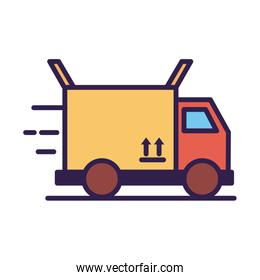 truck with box carton packing delivery service line and fill