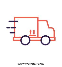 truck with box carton packing delivery service line style