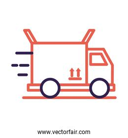 truck with box carton packing delivery service line