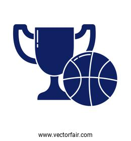 trophy prize with basketball ball, silhouette style icon
