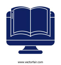 desktop computer with book, silhouette style icon