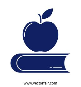 closed book with delicious apple, silhouette style icon
