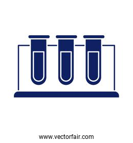 chemical laboratory test tubes, silhouette style icon