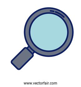 magnifying glass lens, line and fill style icon