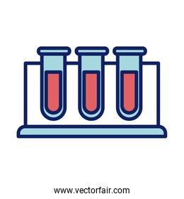 chemical laboratory test tubes, line and fill style