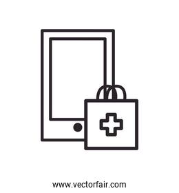 Smartphone with medical bag line style icon vector design