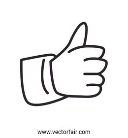 Isolated thumb up line style icon vector design