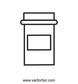 Isolated medicine jar line style icon vector design
