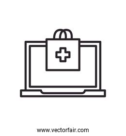 Laptop and bag with cross line style icon vector design
