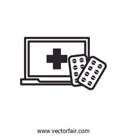 Pills tablets and laptop with cross line style icon vector design