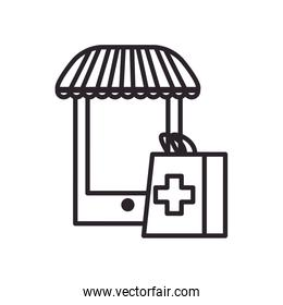 Smartphone with tent and medical bag line style icon vector design