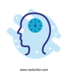 profile with time clock mental health line style icon