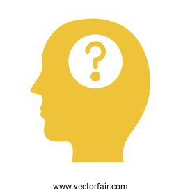 profile with question symbol mental health silhouette style icon