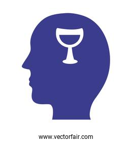 profile with wine cup mental health silhouette style icon