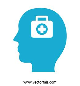 profile with medical kit mental health silhouette style icon