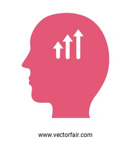 profile with arrows up mental health silhouette style icon