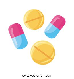 medicine capsules and pills drugs detailed style icon
