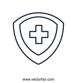 Cross inside shield line style icon vector design