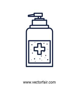 Soap dispenser with cross line style icon vector design