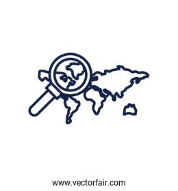 Map and lupe line style icon vector design