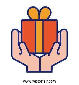 hands with gift box present line and fill style