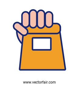 hand with shopping bag line and fill style icon