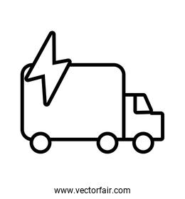 truck with power ray delivery service line style icon