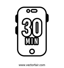 smartphone with 30 minuts line style icon