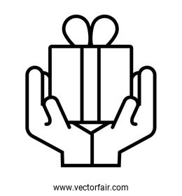 hands with gift box present line style