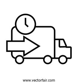 truck with time and arrow delivery service line style icon