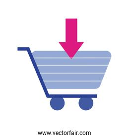 shopping cart trolley with arrow download flat style icon