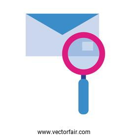 envelope with magnifying glass flat style