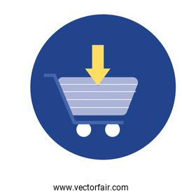 shopping cart trolley with arrow download block and flat style icon