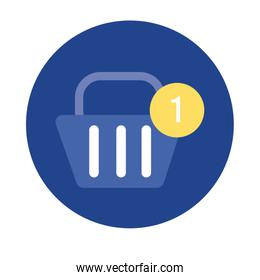 shopping basket commerce block and flat style icon