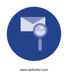 envelope with magnifying glass block and flat style