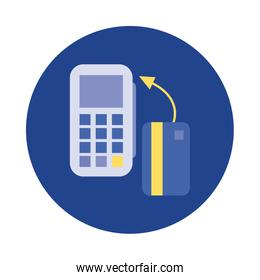 credit card with voucher block and flat style icon