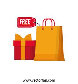 free delivery concept, shopping bag and gift box icon, flat style