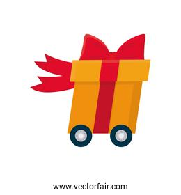 free delivery concept, cart with gift box icon, colorful design