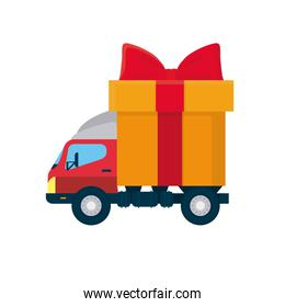 free delivery concept, truck with big gift box icon, colorful design