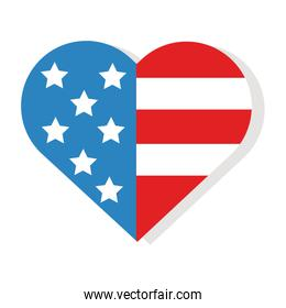 heart with usa flag flat detailed style
