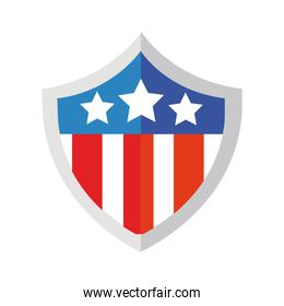 shield with usa flag flat detailed style