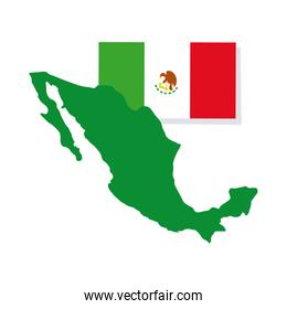 mexican flag and map hand draw style icon